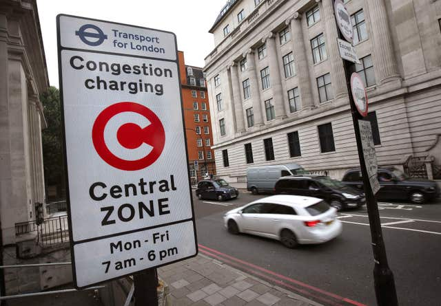 File photo dated 08/08/14 of a congestion charge sign in London. (Philip Toscano/PA)