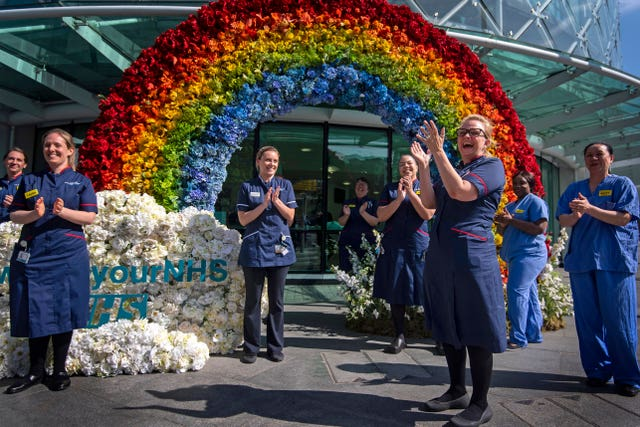 NHS nurses unveil a rainbow floral