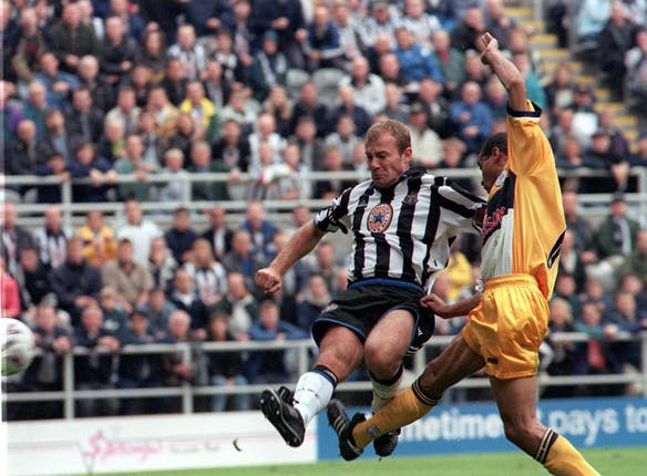 Alan Shearer scores the third of his five goals against Sheffield Wednesday