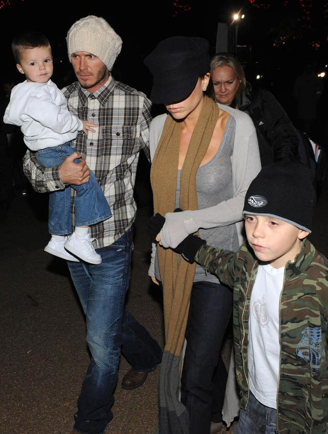 Beckhams Visit Winter Wonderland Ice Rink