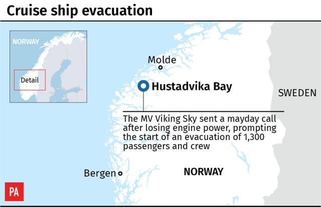 Map locates cruise ship evacuation in Norway