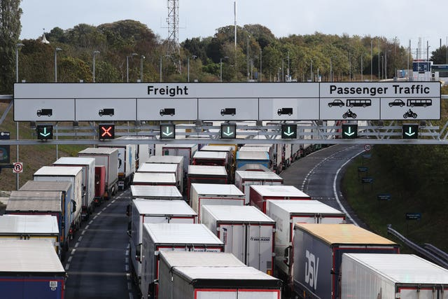 Lorries queue at the entrance to the Channel Tunnel in Folkestone (Gareth Fuller/PA)