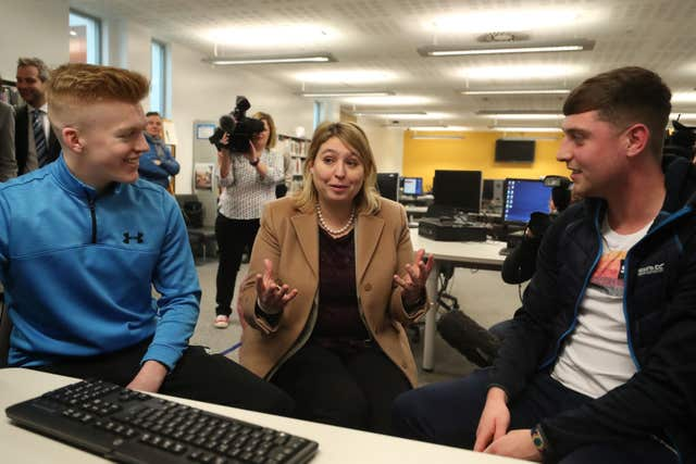 Karen Bradley meeting students at Belfast Metropolitan College in the Titanic Quarter of the city during her first visit as Northern Ireland Secretary (Liam McBurney/PA)