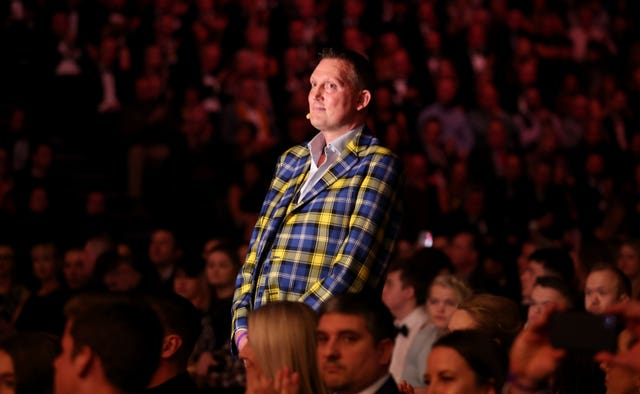 Doddie Weir waits to receive the Helen Rollaston Award during the BBC Sports Personality of the Year show
