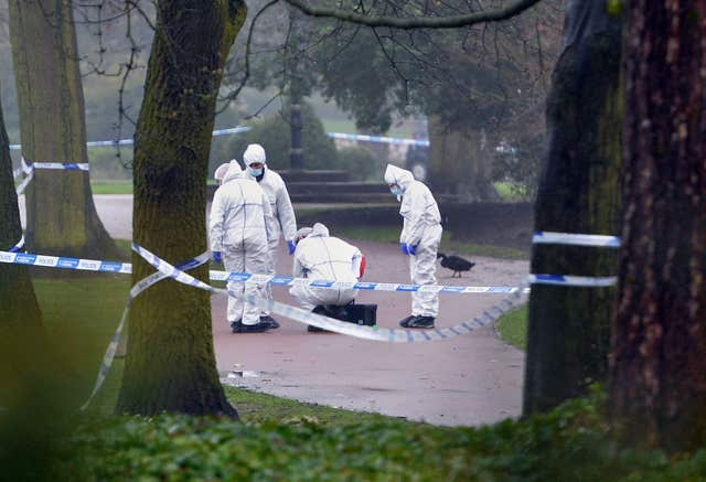 Forensic police at the scene in West Park, Wolverhampton, where 14-year-old Viktorija Sokolova's body was found (PA)