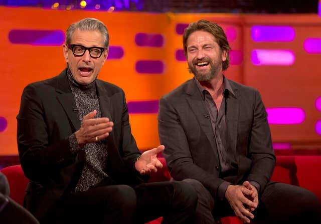 Jeff Goldblum and Gerard Butler chat on the couch on The Graham Norton Show