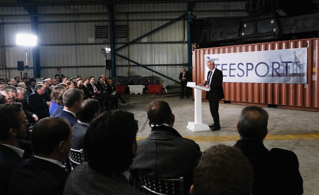 Brexit Secretary David Davis delivers a speech on the Brexit implementation period during a visit to PD Ports at Teesport in Middlesbrough. (Ian Forsyth/PA)