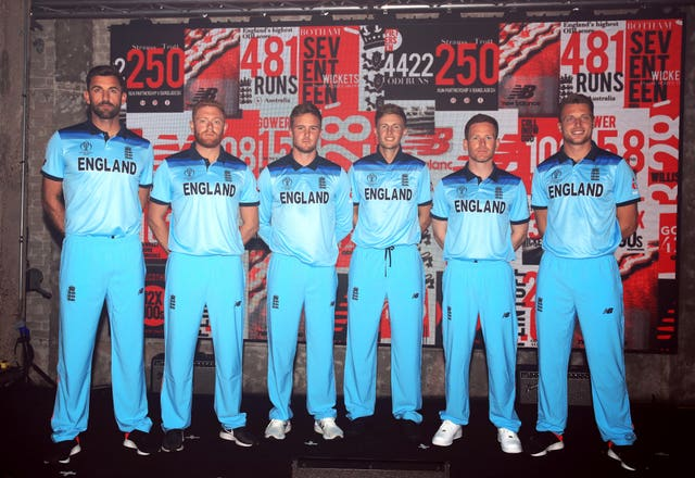 Liam Plunkett, Jonny Bairstow, Jason Roy, Joe Root, Eoin Morgan and Jos Buttler model the new England kit