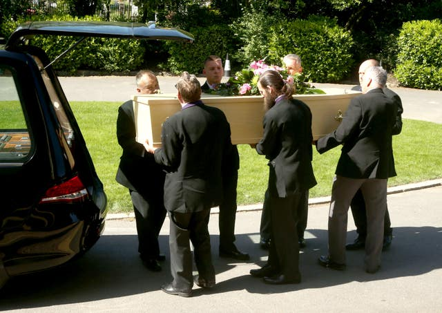 The coffin of Dexter Bristol at his funeral service at Honor Oak Crematorium (Yui Mok/PA)