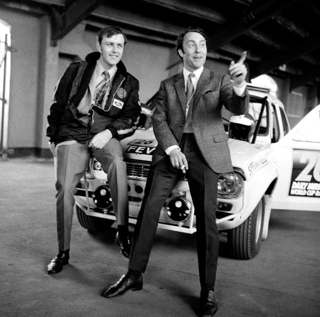 Jimmy Greaves and co driver Tony Fall at an event prior to the Wembley to Mexico World Cup Rally