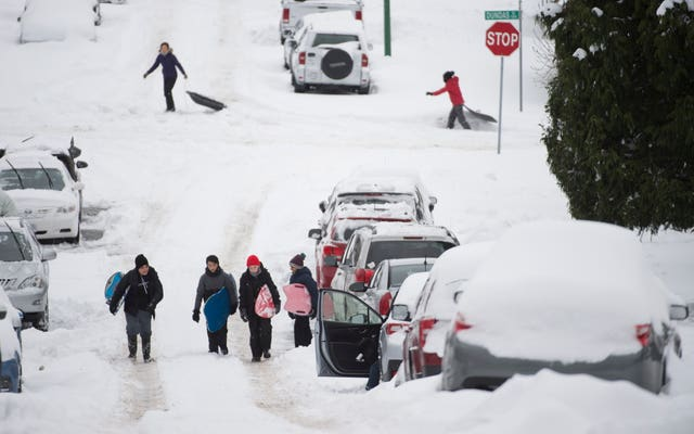 Snow in British Columbia led to substantial travel disruption in Vancouver and neighbouring Burnaby