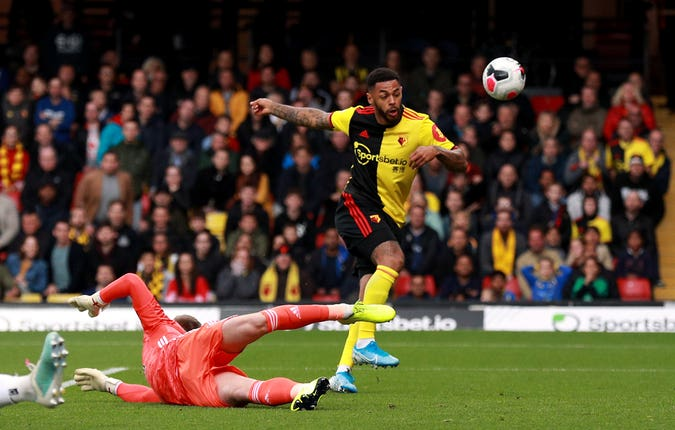 Andre Gray misses a chance from close range