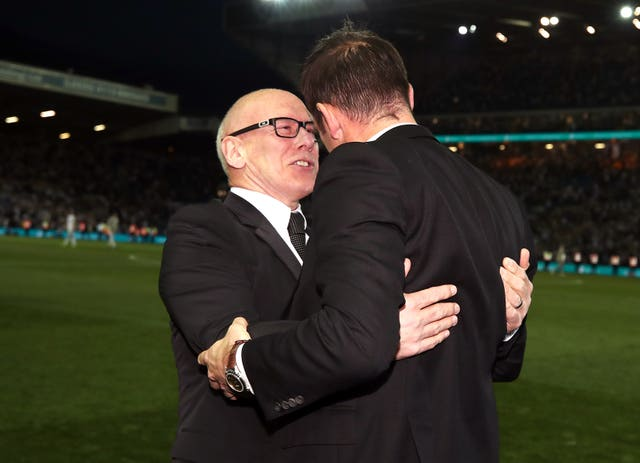 Derby County owner Mel Morris celebrates victory with manager Frank Lampard (right) (PA)