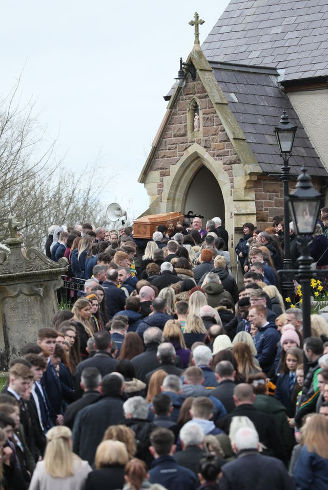 The coffin arrives for the funeral of Connor Currie