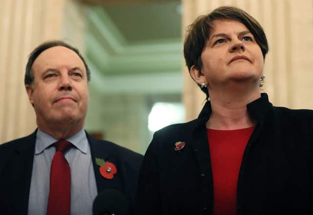 DUP leader Arlene Foster and deputy leader Nigel Dodds have strongly opposed Theresa May's deal (Brian Lawless/PA)