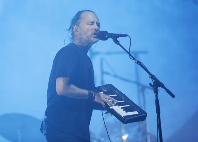 Thom Yorke of Radiohead at Glastonbury in 2017