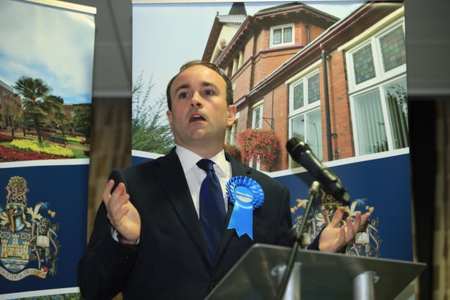Conservative candidate Aaron Bell speaks after he is declared the winner of the Newcastle-Under-Lyme seat in the 2019 General Election