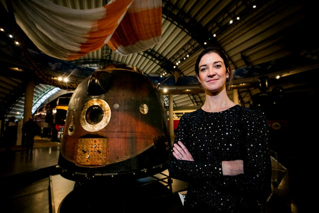 Norah Patten with the Soyuz capsule