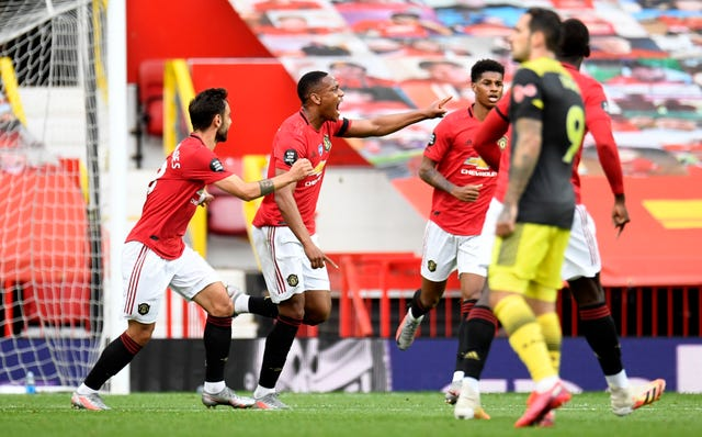 Anthony Martial celebrates Manchester United's second against Southampton