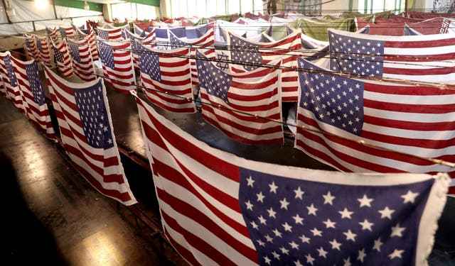 US flags at a factory in Iran