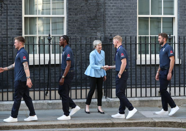 Theresa May welcomes Jason Roy, Jofra Archer, Ben Stokes and Liam Plunkett