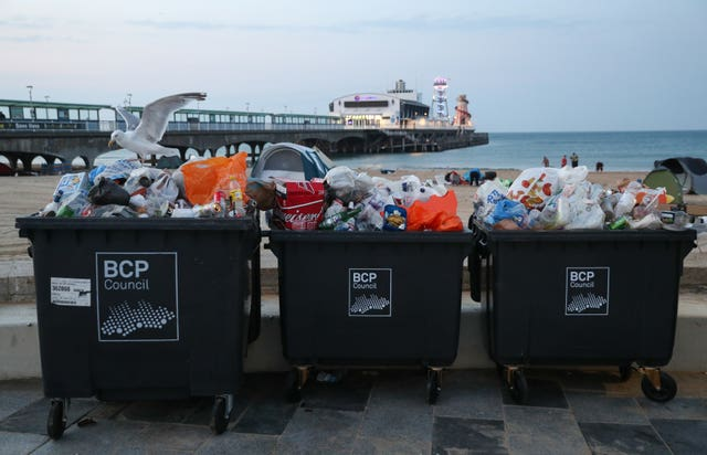 Waste ready to be collected on Bournemouth beach