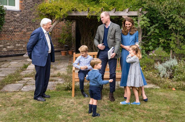 The Cambridges and their family with Sir David Attenborough. Kensington Palace
