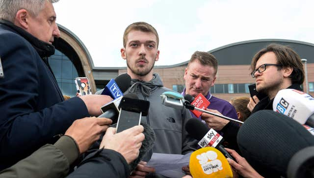 Tom Evans speaking to the media outside Liverpool's Alder Hey Children's Hospital (Peter Byrne/PA)