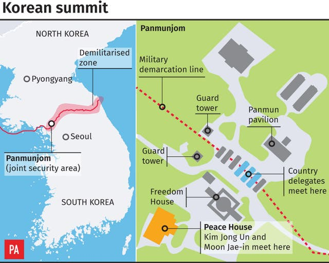 Graphic locates the venue for the historic summit between North and South Korean leaders