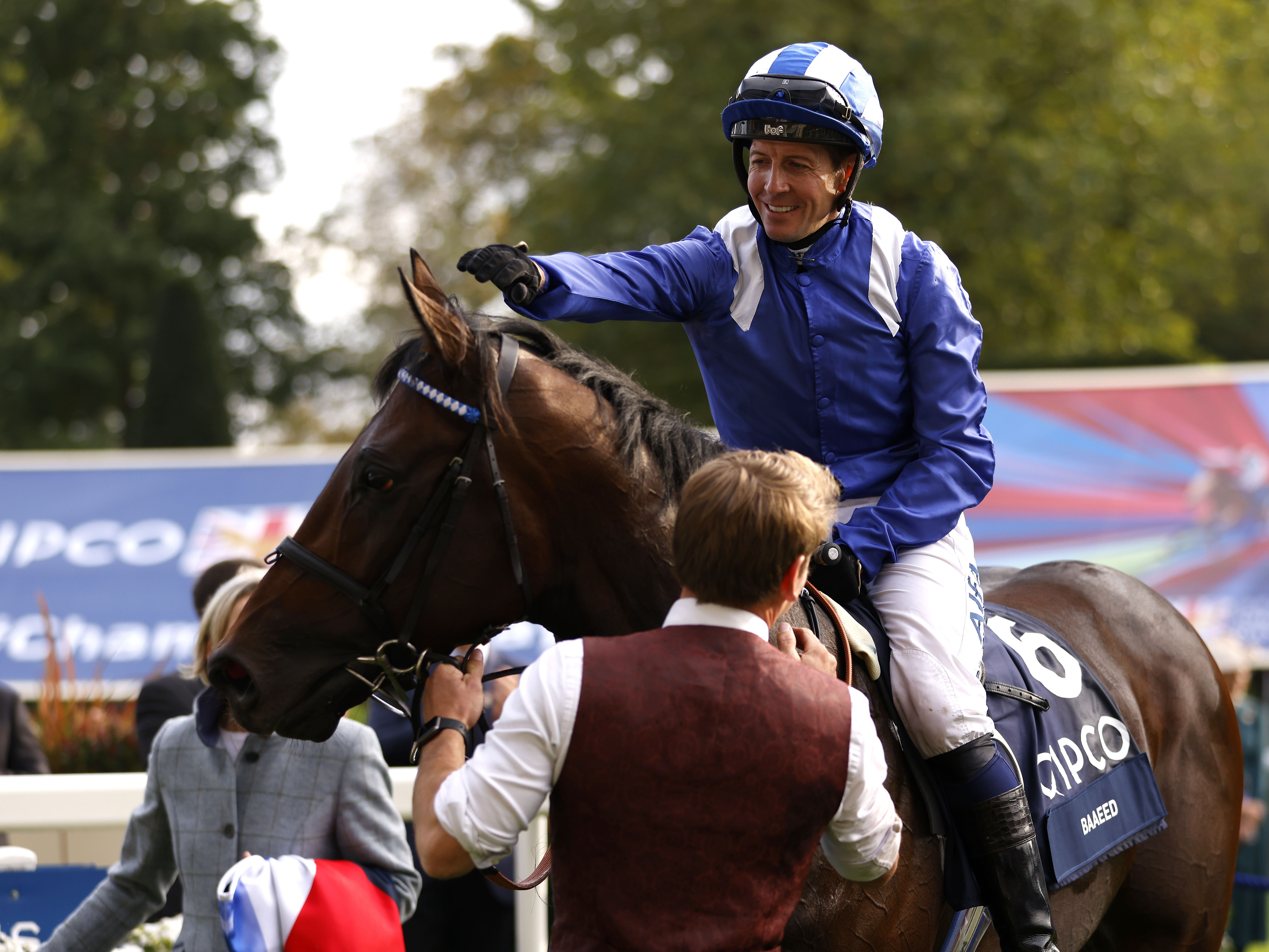 Jockey Jim Crowley celebrates with Baaeed after winning the Queen Elizabeth II Stakes (Sponsored by Qipco) during the Qipco British Champions Day at Ascot Racecourse (Steven Paston/PA)