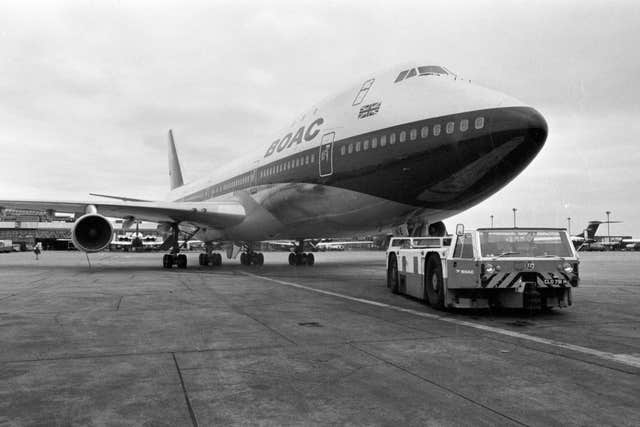 A 1971 photo of a Boeing 747 in British Overseas Airways Corporation (BOAC) livery at London's Heathrow airport. The airline is now known as BA (PA)