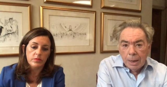 Screengrab from Parliament TV of Andrew Lloyd Webber and Rebecca Kane Burton, Chief Executive of LW Theatres, appearing by video link at the Digital, Culture, Media and Sport Committee