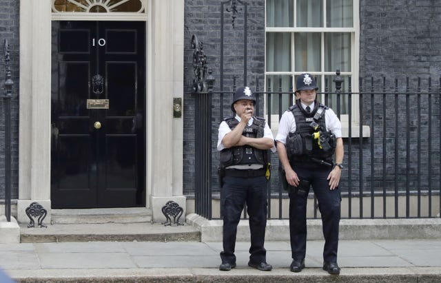 Police officers in Downing Street ahead of the arrival of US President Donald Trump