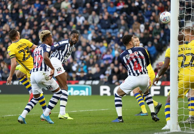 Semi Ajayi, third left, opened the scoring as West Brom thrashed Swansea 5-1 to return to the top of the Championship table