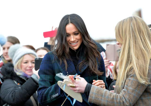 Meghan Markle meets well-wishers at Edinburgh Castle (John Linton/PA)