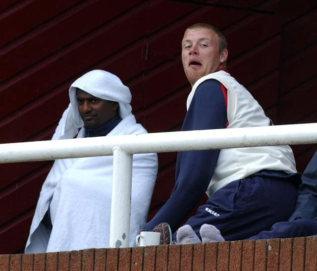 Andrew Flintoff and Muralitharan struck up an unlikely friendship while the Sri Lankan played at Lancashire