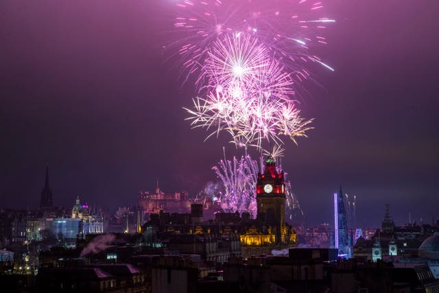 Fireworks launched from Edinburgh Castle during New Year celebrations