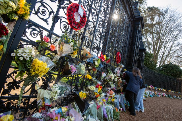 Floral tributes at the gates of Sandringham House in Norfolk