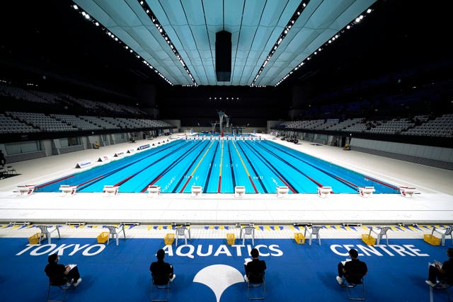 The Tokyo Aquatics Centre, one of the venues of the Tokyo 2020 Olympic and Paralympic Games (Eugene Hoshiko/AP)