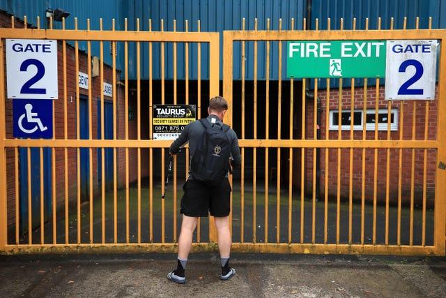 The gates are locked at Gigg Lane