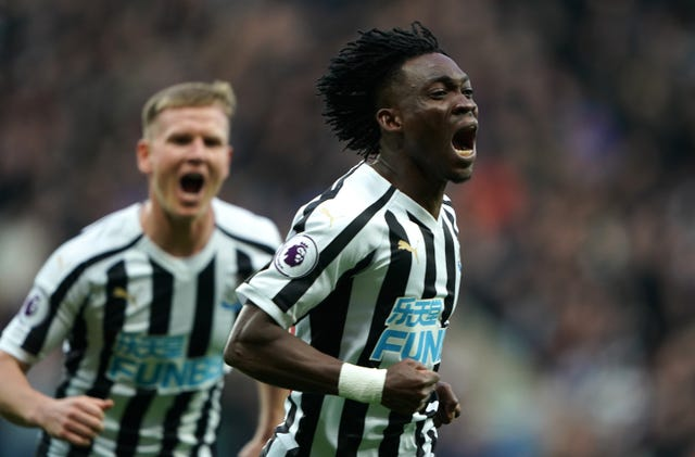 Christian Atsu, right, equalised for Newcastle