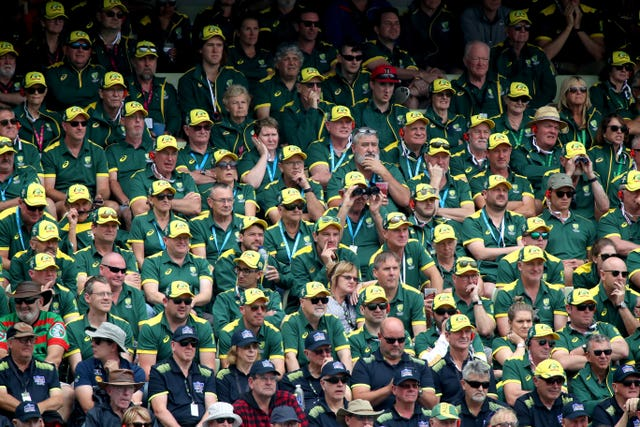 The Australia fans were quiet as wickets continued to tumble