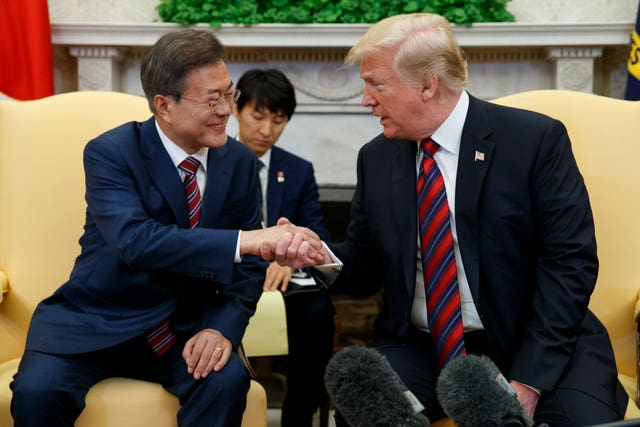 President Donald Trump meets South Korean President Moon Jae-In in the White House (AP Photo/Evan Vucci)