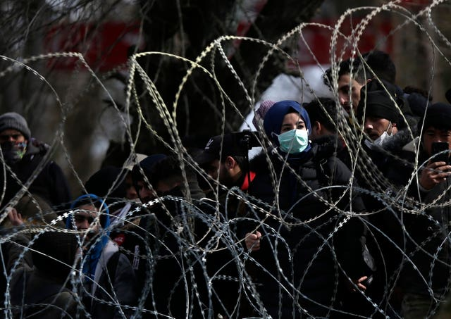 Thousands of migrants massed at the Turkish-Greek border