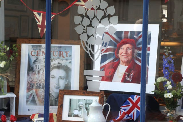 A display in memory of Forces Sweetheart Dame Vera Lynn in the Nutmeg Cafe in Ditchling, where she lived, ahead of her funeral