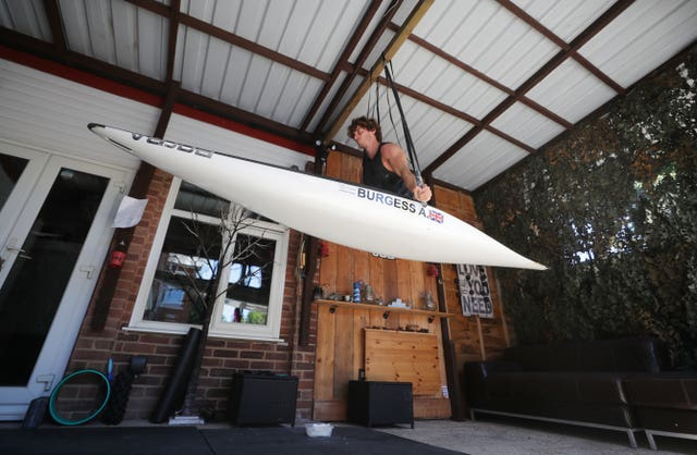 British slalom canoeist Adam Burgess trains at his home in Cheshunt, Hertfordshire during lockdown. The 28-year-old has qualified to represent Great Britain at the rescheduled 2020 Summer Olympics in Tokyo, competing in the Men's C-1 event.