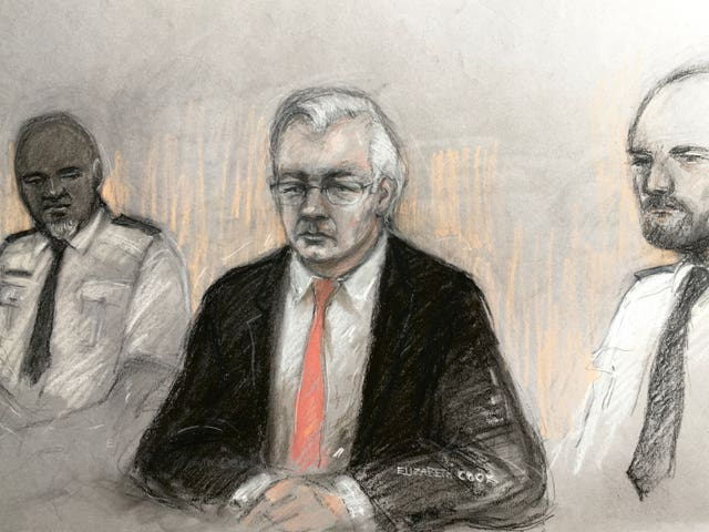Court artist sketch of Julian Assange at the Old Bailey last week