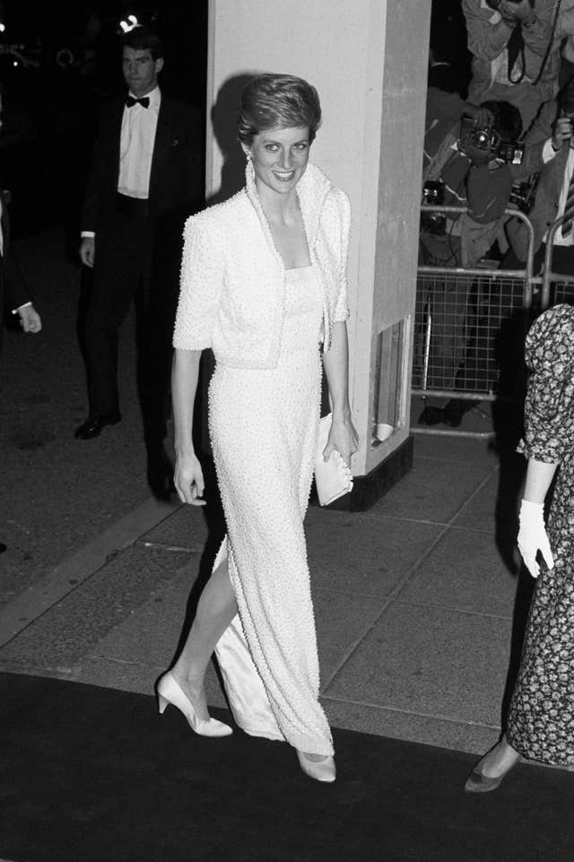 The Princess of Wales arriving at the Royal Albert Hall in London where she was to present the British Fashion Awards 1989 at the end of London Fashion Week.