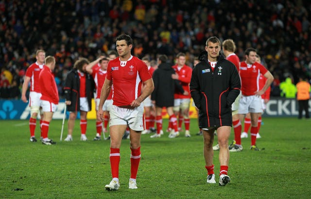 Mike Phillips (left) and Sam Warburton (right) appear dejected after the final whistle at Eden Park in 2011