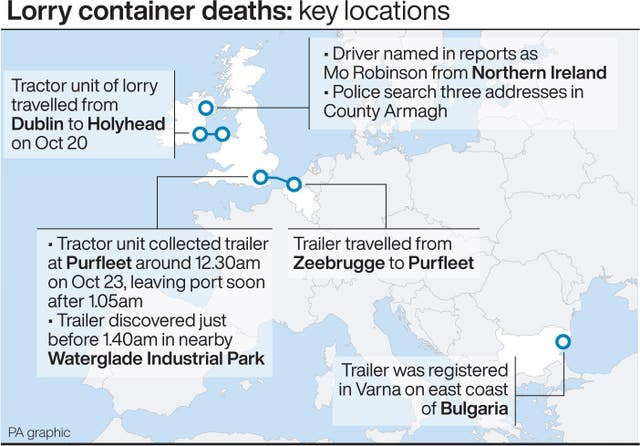 Lorry container deaths: key locations